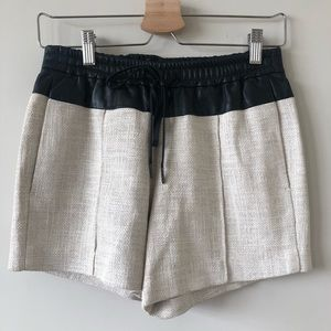 A.L.C. Leather-Trimmed Linen Coated Shorts